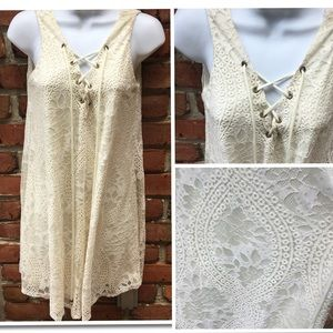 Alter'd State Cream Lace Up Sleeveless Dress Small